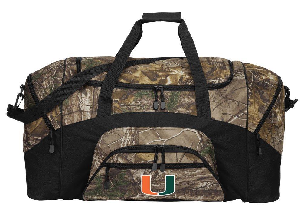 RealTree Camo University of Miami Duffel Bag Or Camo Miami Canes Gym Bag