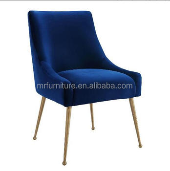 Remarkable Navy Blue Velvet Fabric Dining Chair In Brass Gold Buy Navy Blue Dining Chair Brass Gold Dining Chair Metal In Gold Dining Chair Product On Machost Co Dining Chair Design Ideas Machostcouk