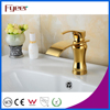 Fyeer Deck Mounted Glod Plated Waterfall Faucet Single Handle Brass Sink Water Mixer Tap