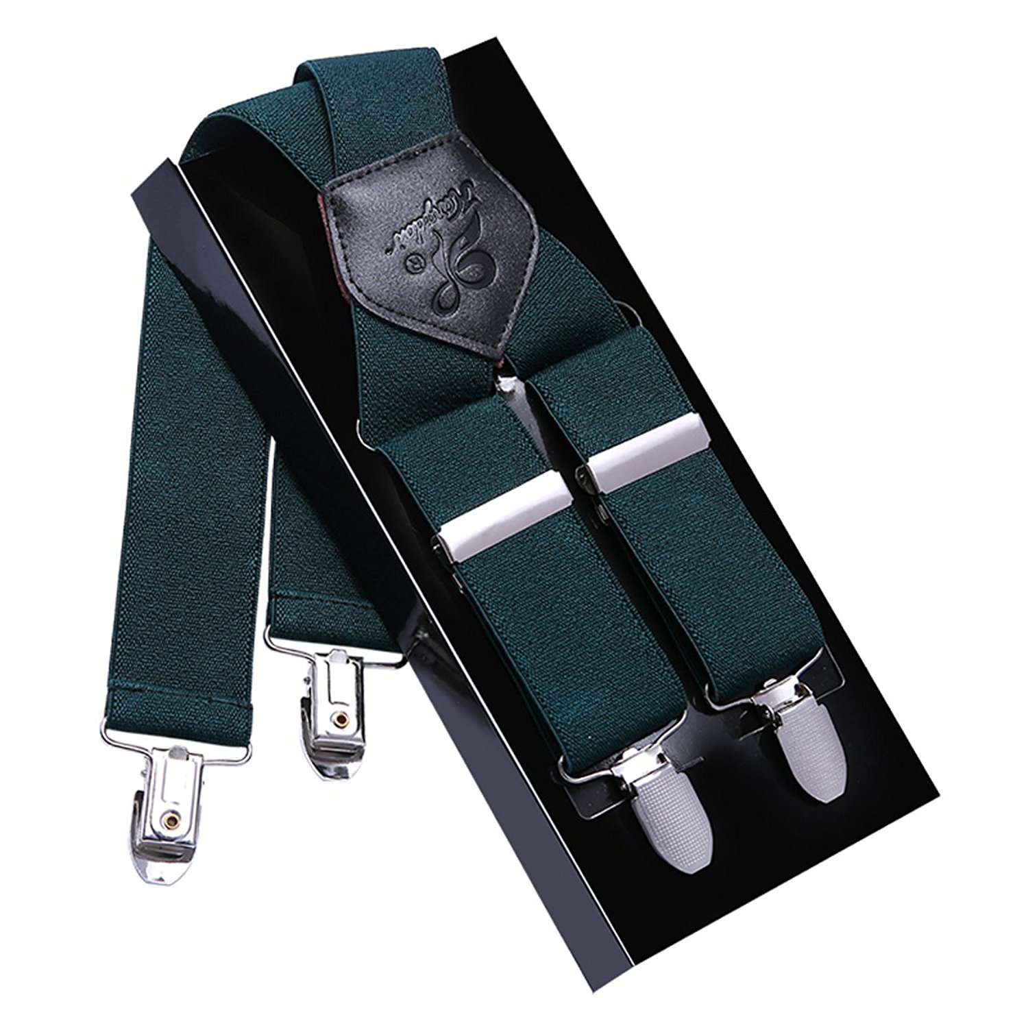 Men Suspenders X Back KANGDAI 4 Clips Wide Heavy Duty Suspenders for Tuxedo & Wedding