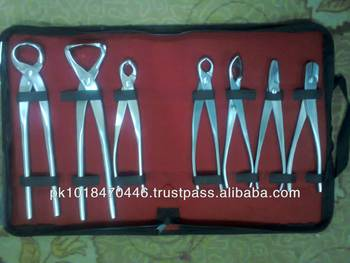 Stainless steel bonsai garden tools in a kit bag buy for Gardening tools pakistan