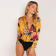Long Sleeve Fashion V Neck Sexy Satin Silk One Piece Blouse Shirt Tops Print Jumpsuits Rompers Adult Pajama Thong Bodysuit Women