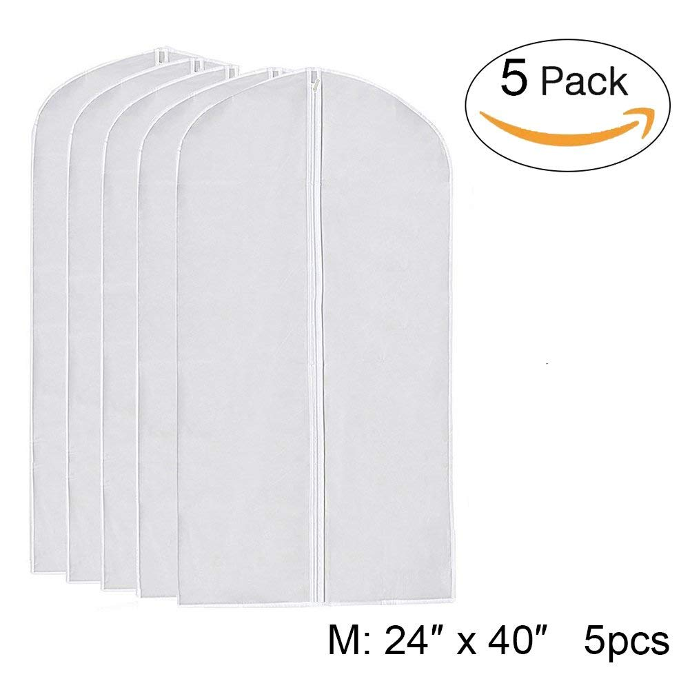 "I-Choice Hanging Clear Garment Bags, PEVA Clear Garment Cover Bag for Suit Jacket Clothes Covers Dustproof Organizer Storage Full Zipper Suit Bag, Lightweight, 40"" Long(Pack of 5, 24"" x 40"", M)"