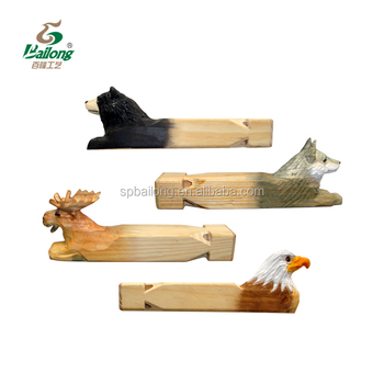 Handmade animal shape toy wooden train whistle