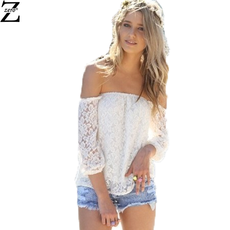 High Quality Summer Style Women Blouse 2015 Sexy Slash Neck Hollow Out Solid Lace Blusa Feminina Women Tops