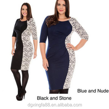 Evening Dress For Fat Women Navy Blue Lace Dress Plus Size Evening ...