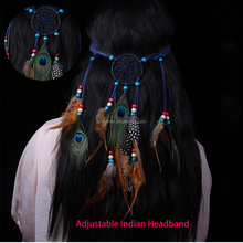Wholesale Natural dreamercatcher Indian Peacock Feather Headband for Carnival Festival