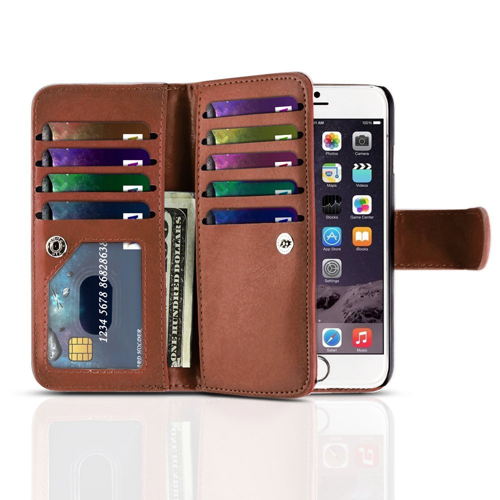 "TNP iPhone 6s Plus Wallet Case (Brown) - Flip Synthetic Leather Wallet Pocket Case 2-In-1 Magnetic Detachable Back Cover with Built-in 9 Card Slots for Apple iPhone 6S Plus iPhone 6 Plus 5.5"" Devices"