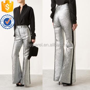 63068dad103e Black Satin Stripes Silver Flare Pants OEM/ODM Women Apparel Clothing  Garment Wholesaler Ropa Mujer