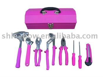Lb-297 9pcs Pink Handle Tools In Metal Box