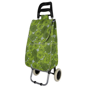Wholesale foldable oxford shopping trolley bag with wheels grocery folding shopping cart