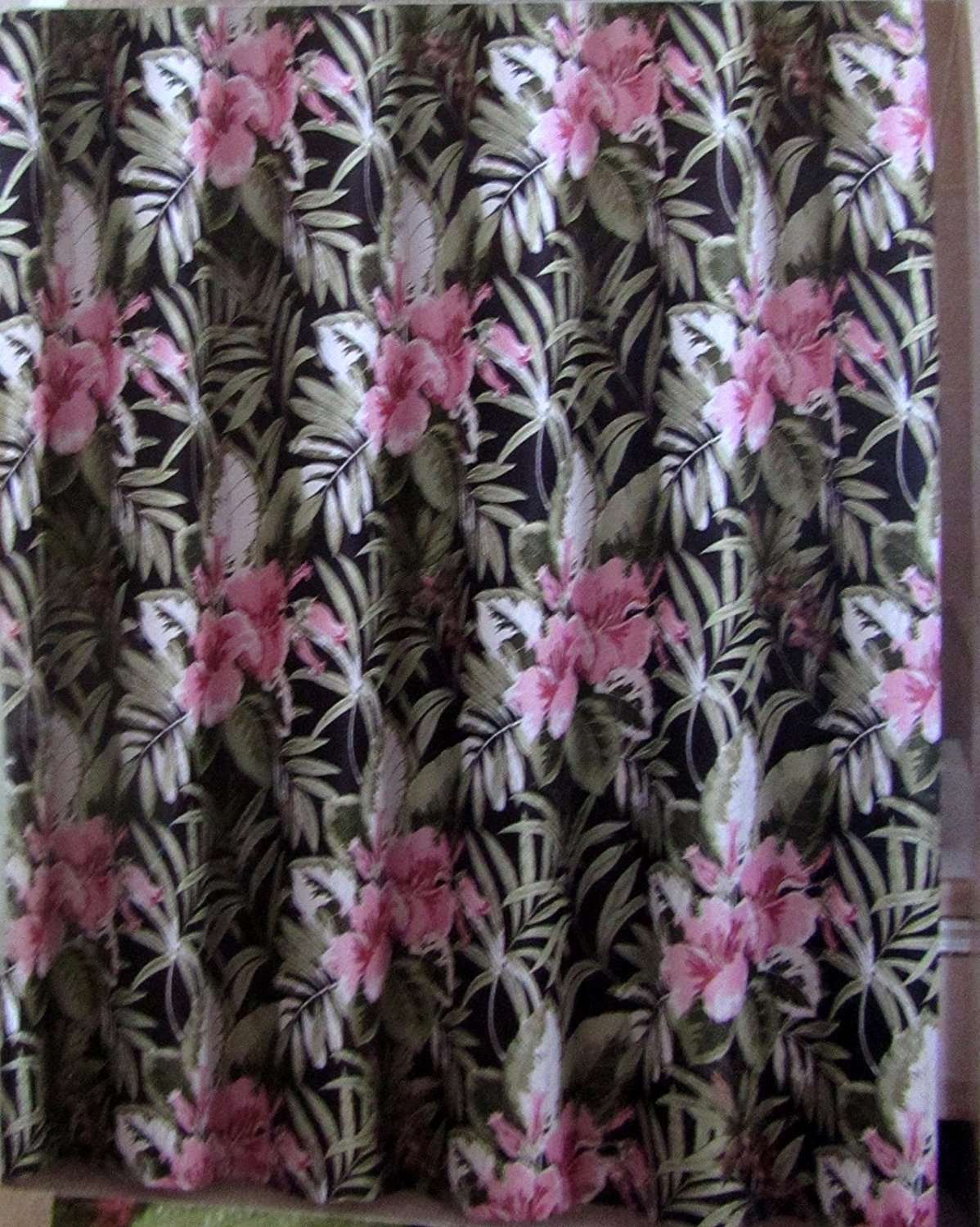Buy Floral Hibiscus Tropical Fabric Shower Curtain Set w/12 Roll ...