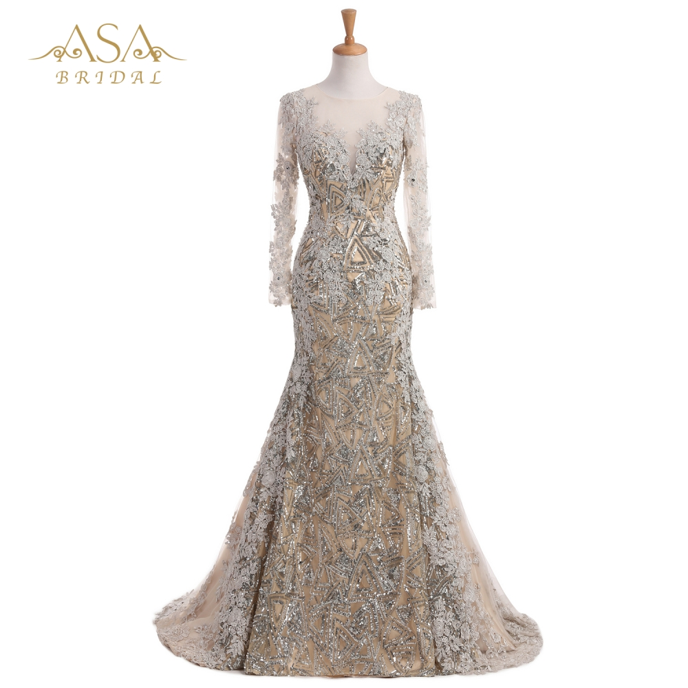 EVD 0437B Elegan Beaded Shiny Sequin Arab Lace Appliques Evening Dress Lengan Panjang Evening Gown