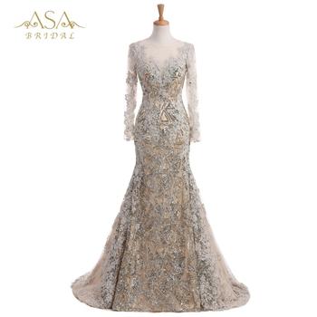 f227894037 EVD 0437B Elegante Perlen Glänzende Pailletten Arabische Spitze Appliques Abendkleid  Langarm Abendkleid