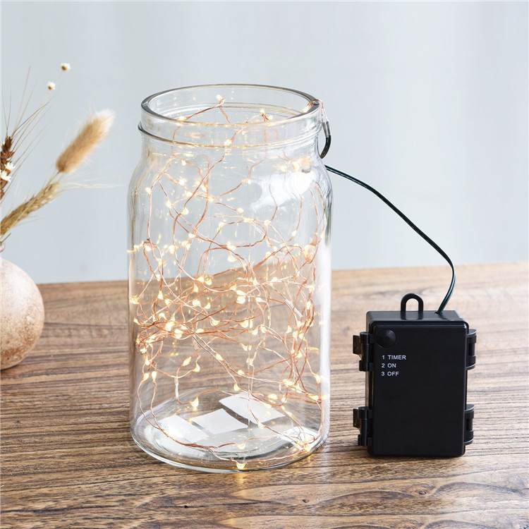 Battery Box Timer 5M 50 Led Copper Pendant String Light Neon Decoration Lights