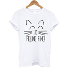 Apparel Factory Price Wholesale White Plain Men's Short Sleeve T-Shirt 100% Cotton Feline Fine Cat Lover Clothing