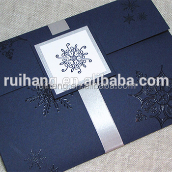 Elegant & High-end Navy Blue and Silver Snowflake Handcrafted Pocket fold Wedding Invitation