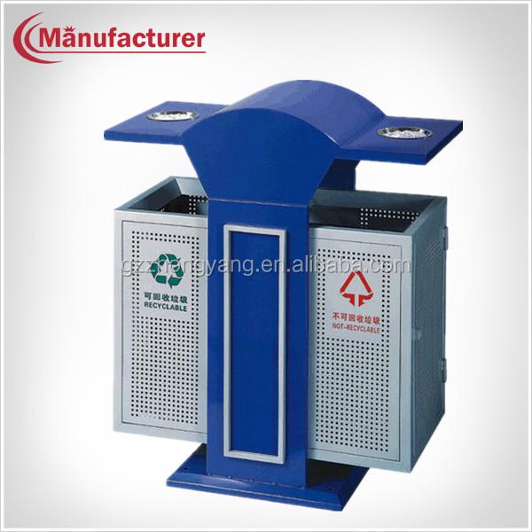 Metal Street Separate Lockable Waste Paper Garbage Bin For Park ...