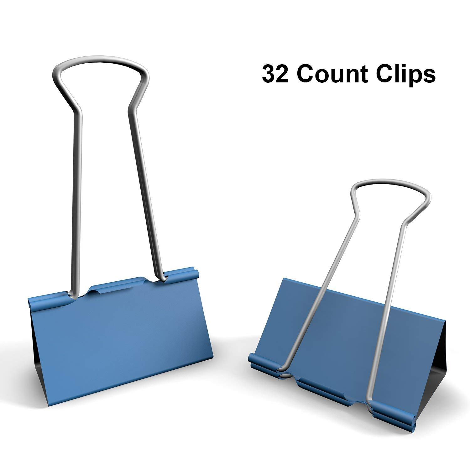 Nctinystore Blue Binder Clips Medium of 3/4 inch (19 mm) Colored Paper Clamp Assorted Size Assortment (Office or School Metal Fold Back Clip Metal Clips.) (0.75 in/19 mm)(Blue, 32 - Count)
