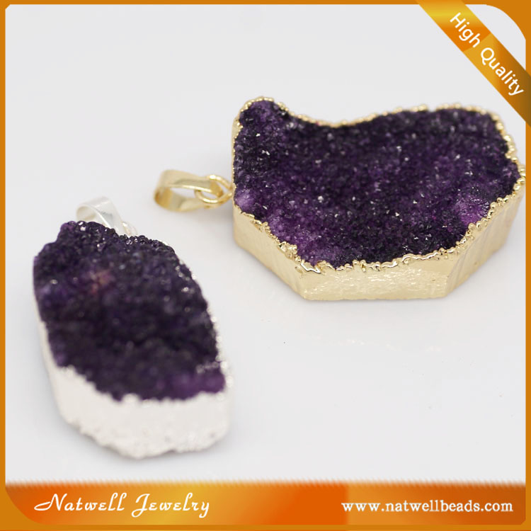 wholesale druzy jewelry Purple agate irregular shape geode pendant druzy fashion gold plated