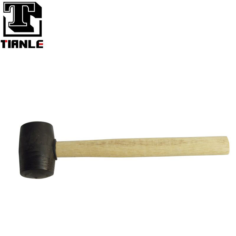 TIANLE 300G black rubber hammer wood handle rubber mallet