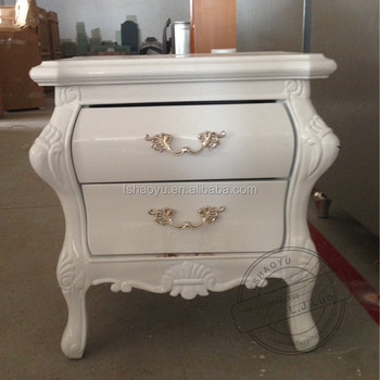 Antique Stylish White Wooden Bedside Table Two Layers Nightstand