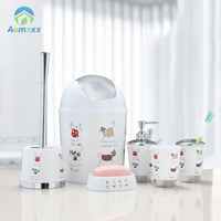 Manufacturers Beautiful cute cat Plastic Bathroom Set include mat Shower curtain Toilet seat