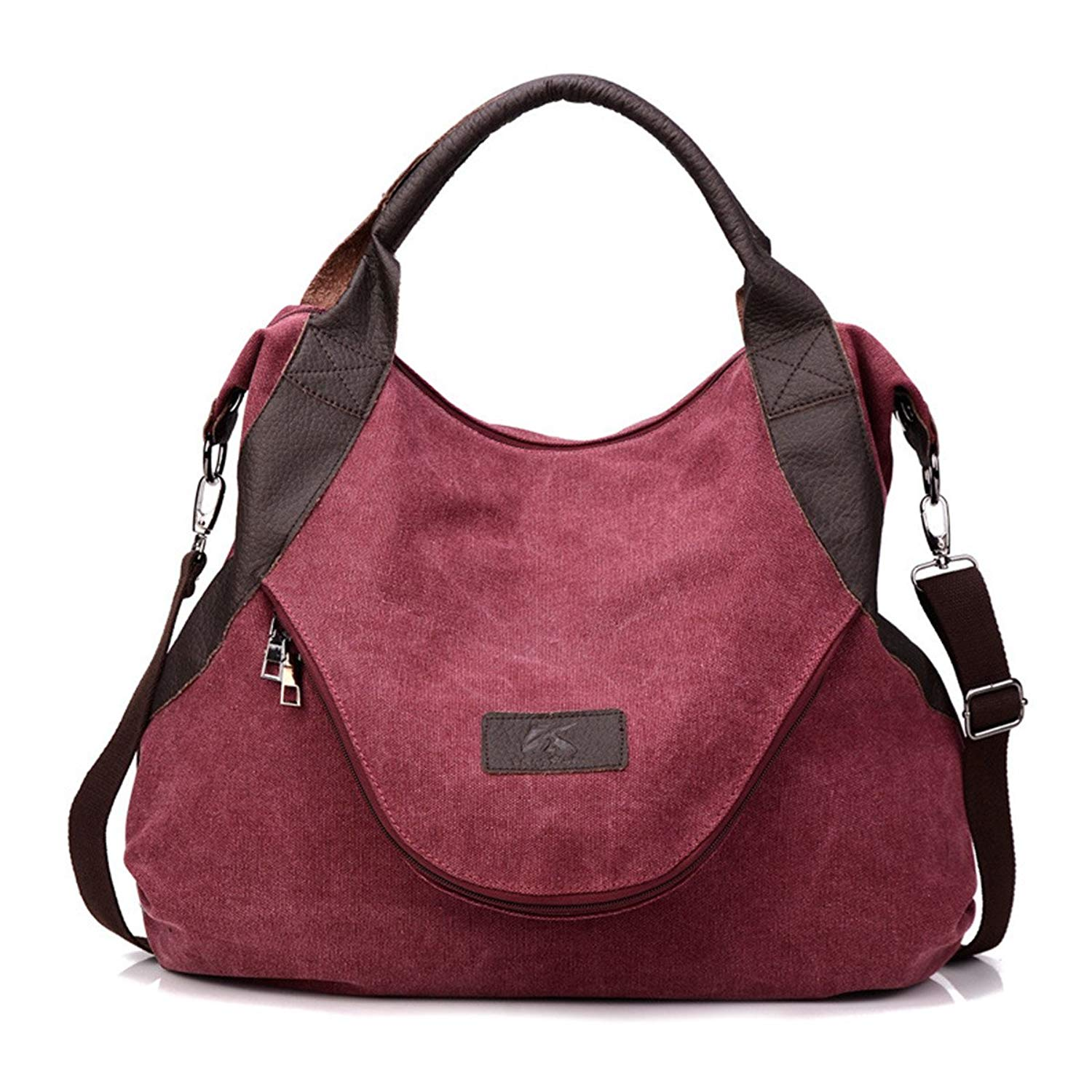 2018 Large Pocket Casual Women's Shoulder Cross body Handbags Canvas Leather Bags canvas tote bag