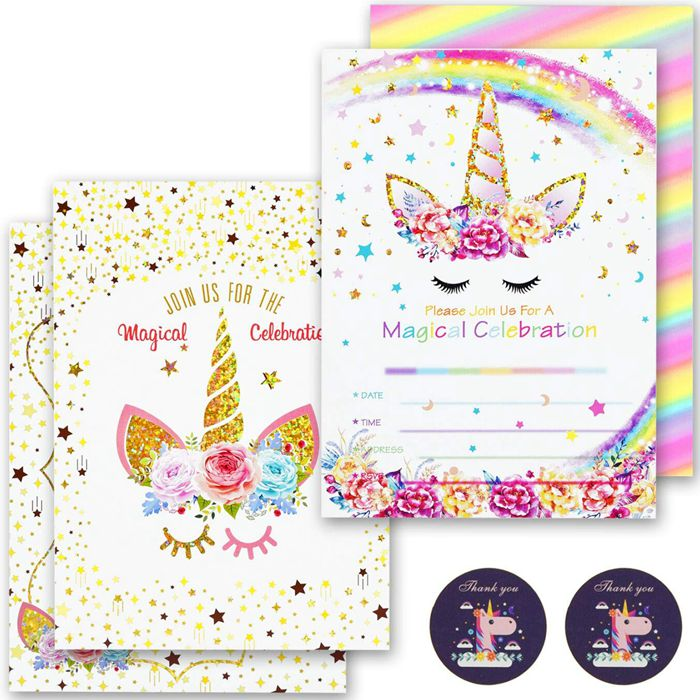 24 Pcs Unicornio Invitaciones Con 24 Sobres Brillo De Arco Iris Unicornio Cumpleaños Fiesta Tarjetas De Invitación Para Cumpleaños De Niños Buy