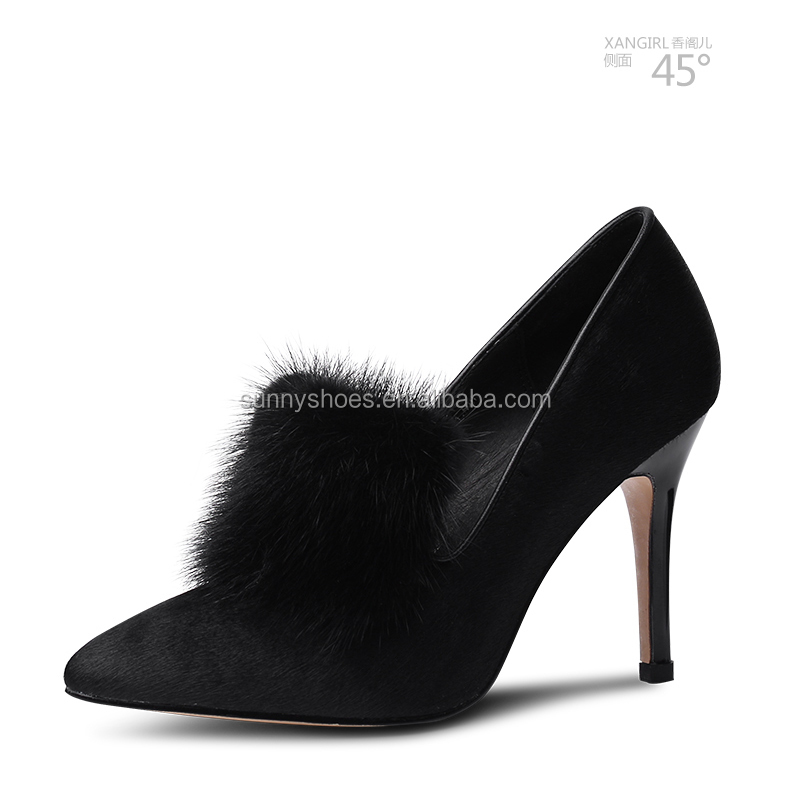slip on hair pointed shoes ladies women wedding Sexy toe casual party mink best Bnw8znXq