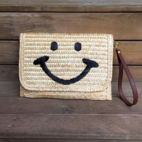2016 hot sale one shoulder envelope wheat straw beach bags