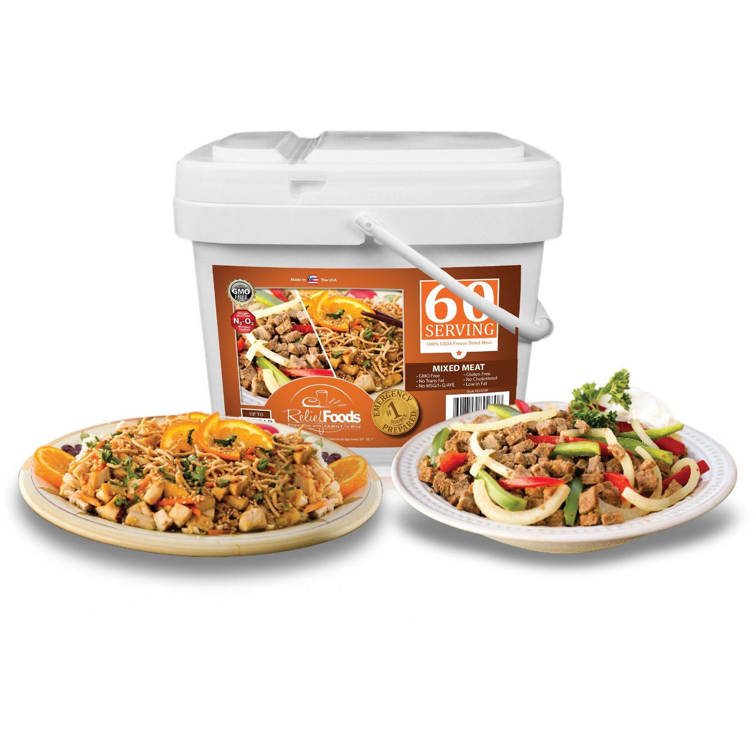 Relief Foods Freeze Dried Chicken and Beef Emergency Food Supply Bucket (60-Serving)