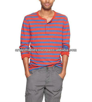 5cb443baaf New Fashion Mens Striped Henley Neck Full Sleeve T Shirt - Buy Mens ...