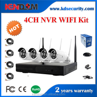 Kendom WIFI P2P 4CH NVR Digital CCTV Kit 720P Wireless IP Camera H.264 Outdoor Security System with High Quality
