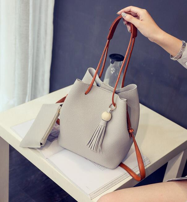 zm32851a Cheap ladies leather handbags set women fashion tote bucket bag with small wallet