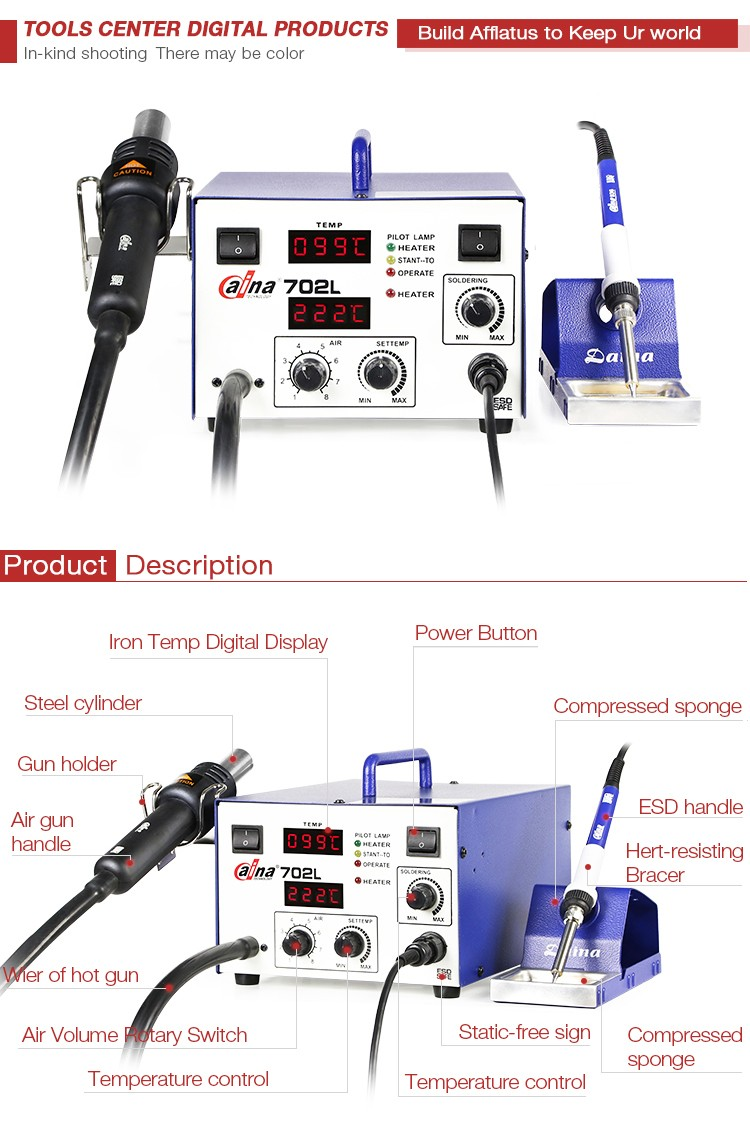 60W Digital Soldering Station Handle China Wholesale Tools Daina Hot Air SMD Rework Multifunctional Soldering Station DN 702L