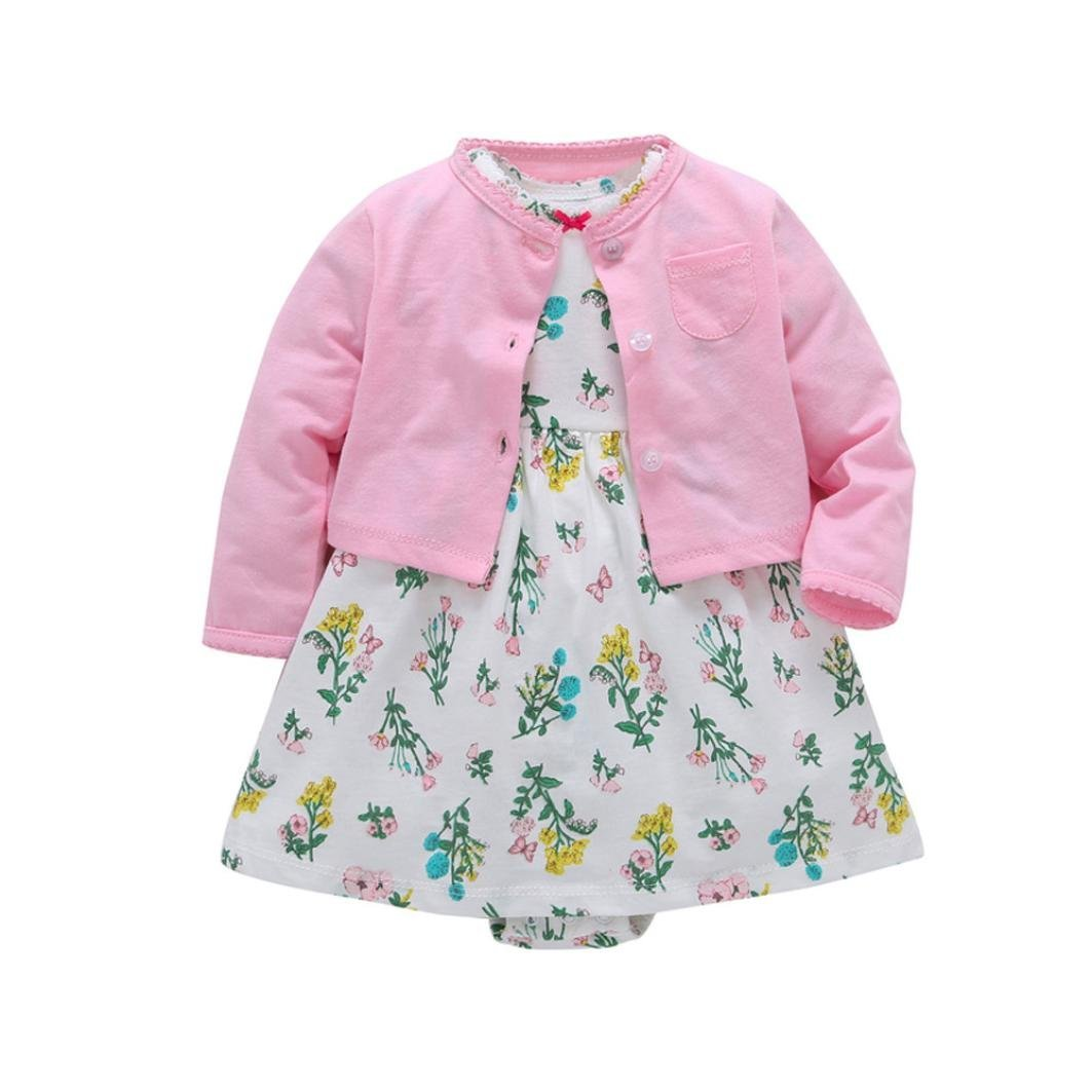 a760dff1e9bf Get Quotations · Tiean Newborn Infant Baby Girls Floral Dress+ Solid Coat Outfits  Clothes Dress Set