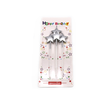 Hot Sale Wholesale  Party Silver Star Birthday Candle