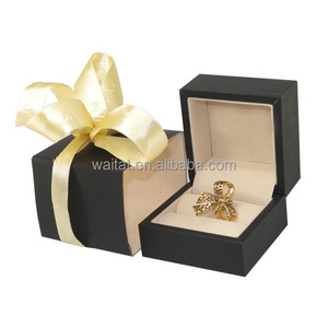Romantic Ribbon Black Wooden Jewellery Ring Packaging Box
