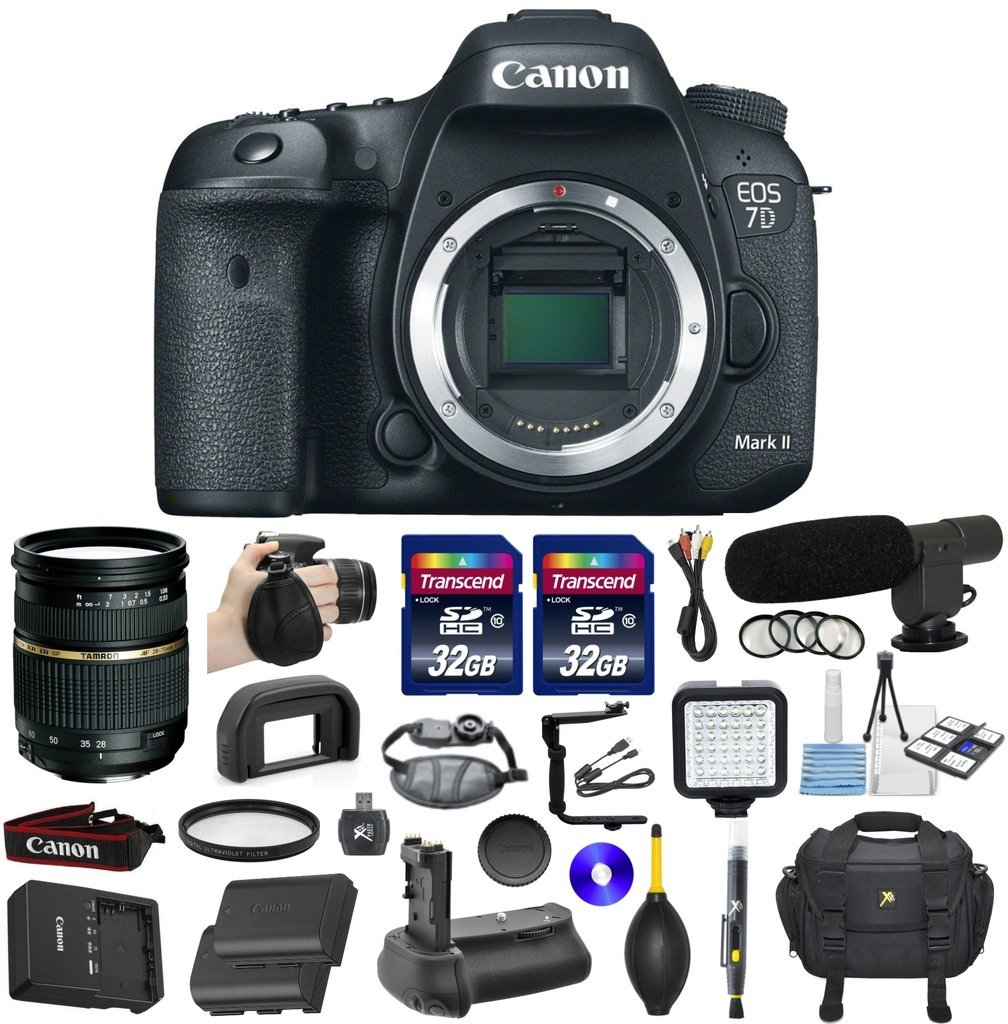 Canon EOS 7D Mark II 20.2MP CMOS Digital SLR DSLR Camera Bundle with Tamron AF 28-75mm f/2.8 Autofocus Lens & 2 Pieces Transcend 32GB High Speed SDHC Memory Cards + Video Accessory Kit (20 items)