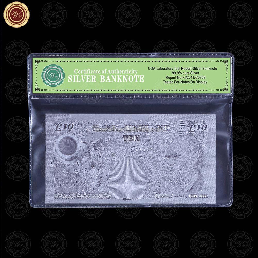 WR recuerdo Gran Bretaña Reino Unido 10 libras Bill calidad plateado ...
