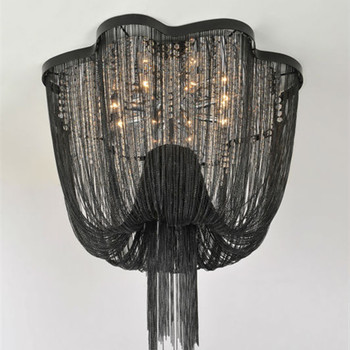 black metal chain hanging chandelier with crystal for hotel project