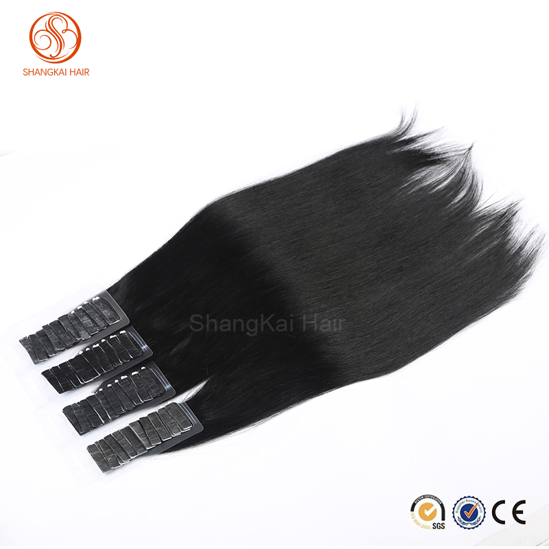 Straight Tape Hair Skin Weft Human Hair Extensions 100% European Virgin Remy All Color Tape In Hair Extension