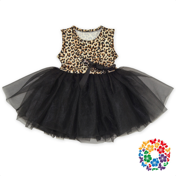 67e62b42d Leopard Print Baby Tutu Dresses Children Summer Sleeveless Black Chiffon  Tulle Dress Boutique Baby Girl Dresses