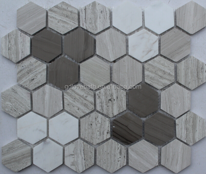 Hexagon Marble Mosaic Shower Floor Tile Mesh Backed