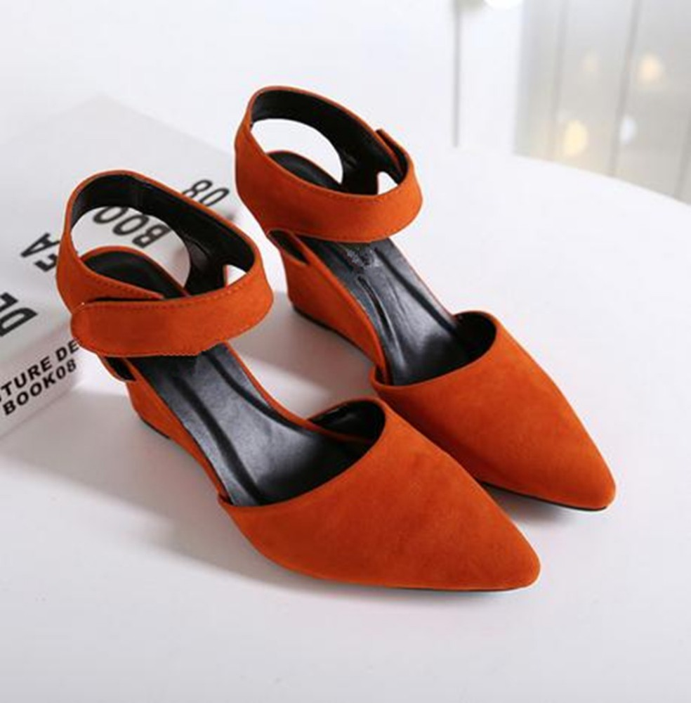 Summer explosion, Europe and America big name, slope heel nib, candy color, single shoes <strong>sandals</strong>
