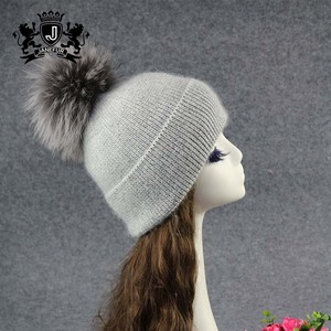 88d4894f6 Fashion Custom Colorful Angora Cashmere Knitted Winter Beanie Hat With Fur  Pompoms