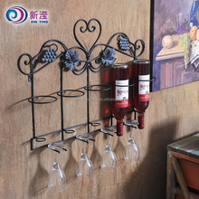 Wall mounted Metal Wine Whiskey Bottle Holder and glass holder
