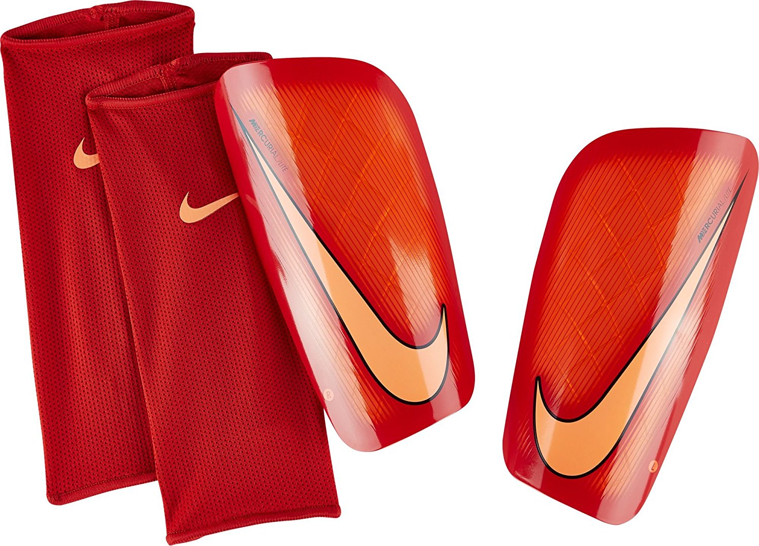 Men's Nike Mercurial Lite Shin Guards (Hyper Orange/University Red/Bright Mango) Medium