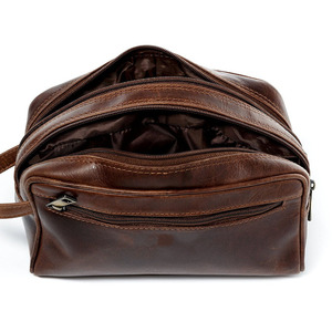 hot sell vintage leather wash bag high capacity genuine leather travel pouch men washing